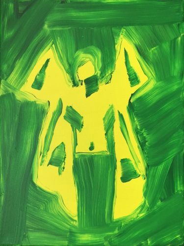 enzo marra-green and yellow francis bacon-acrylic on canvas-40x30cm-2017